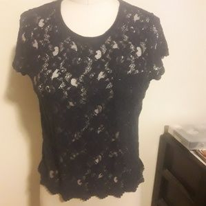 Navy lace shirt with detail